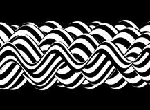 Black and white design. Pattern with optical illusion. Abstract 3D geometrical background. Vector illustration Stock Image