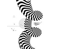 Black and white design. Pattern with optical illusion. Abstract 3D geometrical background. Vector illustration Stock Images