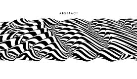 Black and white design. Pattern with optical illusion. Abstract 3D geometrical background. Vector illustration Royalty Free Stock Image