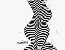 Black and white design. Pattern with optical illusion. Abstract 3D geometrical background. Vector illustration vector illustration