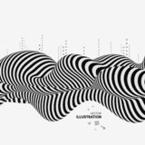 Black and white design. Pattern with optical illusion. Abstract 3D geometrical background. Vector illustration stock illustration
