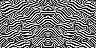 Black and white design. Pattern with optical illusion. Abstract 3D geometrical background. Vector illustration royalty free illustration