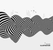 Black and white design. Pattern with optical illusion. Abstract 3D geometrical background. Vector illustration. Black and white design. Pattern with optical royalty free illustration