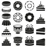 Black and white 18 dessert icon silhouette set. Sweet food vector illustration for sticker sign, patch, certificate badge, gift card, stamp logo, label, poster stock illustration