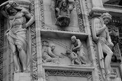 Black&white detail of Milan Cathedral. Particular of the Milan Cathedral facade in black and white stock photos