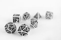 Black and white dices for rpg, dnd, tabletop or board games. Hobby Stock Photography