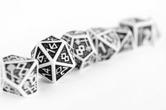 Black and white dices for rpg, dnd, tabletop or board games. Hobby Stock Image