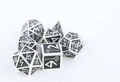Black and white dices for rpg, dnd, tabletop or board games. Hobby Stock Photo