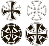 Black and white different cross vectoe set. Black and white graphic different cross icons vector set on white background Stock Photo
