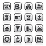 Black and white different types of coffee industry icons Royalty Free Stock Images