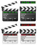 Black & White Digital Movie Clapper. Digital movie clapboard or film slate with led display, on white background, in two positions (open and closed) and in two Royalty Free Stock Image