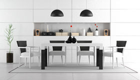 Black and white dining room Stock Photo