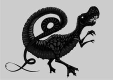 Tyrannosaur silhouette isolated on white. Black and white dinosaur. Tattoo style. Black and white dinosaur. Tattoo style.Tyrannosaur silhouette isolated on Royalty Free Stock Images