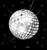 Black-white disco ball. On black background is big black-white specular disco ball Stock Photo