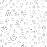Black and White Ditsy Pattern with Small Flowers for Seamless Texture. Feminine Ornament for Textile, Fabric, Wallpaper. Royalty Free Stock Image