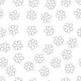 Black and White Ditsy Pattern with Small Flowers for Seamless Texture. Feminine Ornament for Textile, Fabric, Wallpaper. Stock Image