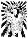 Black and white diva vector illustration