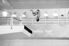 Black and white: the diving competition Royalty Free Stock Photo