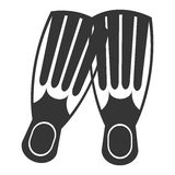 Black and white diving fins, vector graphic Stock Image