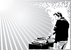 Black and white dj. Illustration with black and white dj silhouette Royalty Free Stock Image