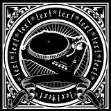 Black And White DJ Player Ornate Quad. Vector Illustration Royalty Free Stock Photography