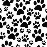 Black and White Dog Paw Prints Tile Pattern Repeat Background Royalty Free Stock Images