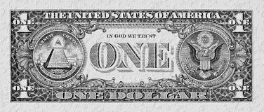 Black-white dollar banknote on a stone wall Stock Photos