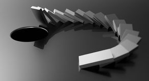 Black and white domino effect Royalty Free Stock Photography