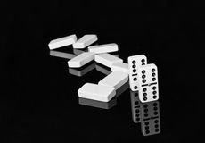 Black and white dominoes on black shining surface Stock Photography