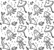 Black and white dooddle sea live seamless pattern Stock Photo