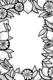 Black and White Doodle Background of Lemons, Lemon Slices and Leaves Stock Photos