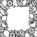 Black and White Doodle Background of Lemons, Lemon Slices and Leaves Stock Photography