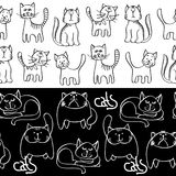 Black and white doodle cats seamless borders Stock Image
