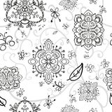 Black-and-white doodle pattern. On a light background with black flowers and butterfly Royalty Free Illustration