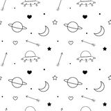 Black and white doodle seamless vector pattern background with moon, planet, stars, heart, arrows and ufo Stock Photos