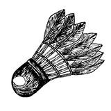Black and white doodle Shuttle Cock Royalty Free Stock Images