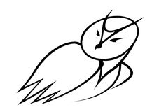Black and white doodle sketch of an owl Stock Photography