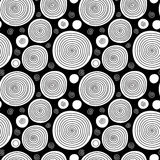 Black and white doodle spiral circles seamless pattern, vector. Background Royalty Free Illustration