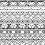 Black and White Doodle Style Seamless Tileable Tribal Pattern Stock Image