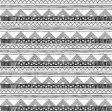Black and White Doodle Style Seamless Tileable Tribal Pattern Stock Photography