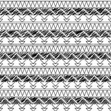 Black and White Doodle Style Seamless Tileable Tribal Pattern Royalty Free Stock Photos