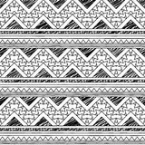Black and White Doodle Style Seamless Tileable Tribal Pattern Royalty Free Stock Images