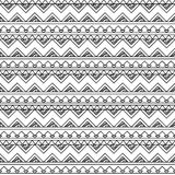 Black and White Doodle Style Seamless Tileable Tribal Pattern Royalty Free Stock Photo