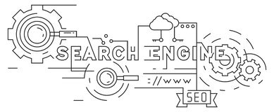 Search Engine Optimization Flat Line Design. Black and White Doodle Style Vector Banner. Geometric Lines stock illustration