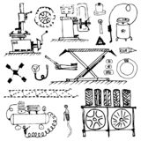 Black white doodle. Tire service and tire repair. Wheel balancing and installation. Seasonal tire change. royalty free stock photography