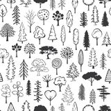 Black and white doodle trees seamless pattern. Texture Stock Photos