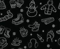 Black and White Winter Elements and Objects Seamless Pattern Stock Images