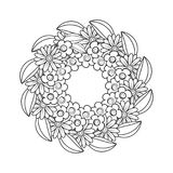 Black and white doodle wreath. Flowers decorative frame. Floral ornament. Design element with space for your text. Perfect for coloring books, cards Royalty Free Stock Images