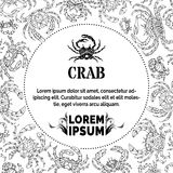 Black and white doodles crabs background. Stock Image