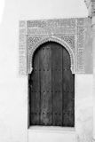 Black and white door in Alhambra Royalty Free Stock Photography